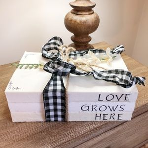 Other - Love Grows Here Decorative Stamped Book Stack